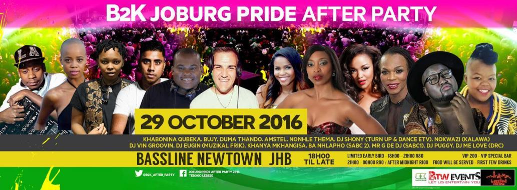 JO'BURG PRIDE AFTER PARTY 10/29/2016 6:00:00 PM