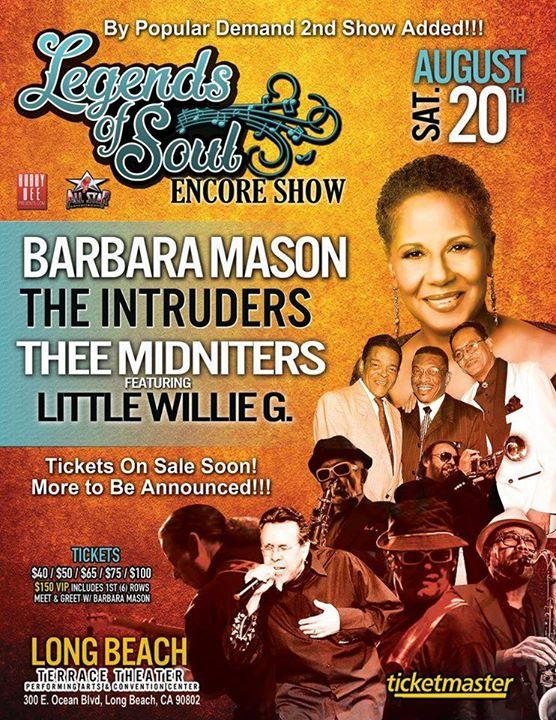 Legends of Soul w Barbra Mason, The Intruders and Thee Midniters 8/20/2016 5:00:00 PM
