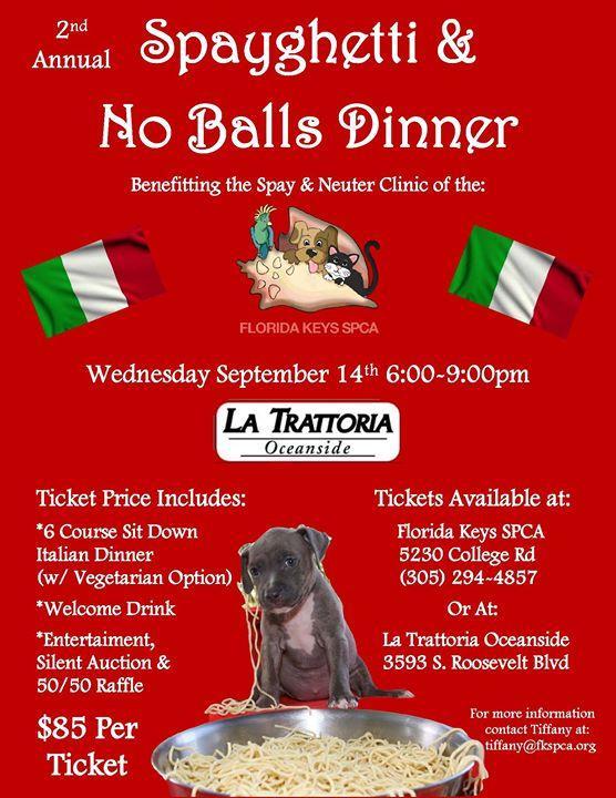 2nd Annual Spayghetti & No Balls Dinner 9/14/2016 6:00:00 PM