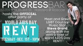 PROGRESSBAR hosts the OFFICIAL after party for World AIDS Day RENT featuring STEVE GRAND 12/1/2015 10:00:00 PM