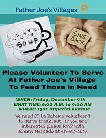 Volunteer to Serve at Father Joe's Village 12/9/2016 6:00:00 AM