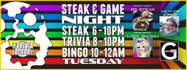 Steak & Game Night: Steak Night, Trivia & Bingo! 12/6/2016 6:00:00 PM