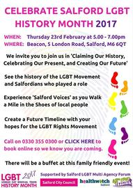 Celebrate Salford LGBT History Month 2017 2/23/2017 5:00:00 PM